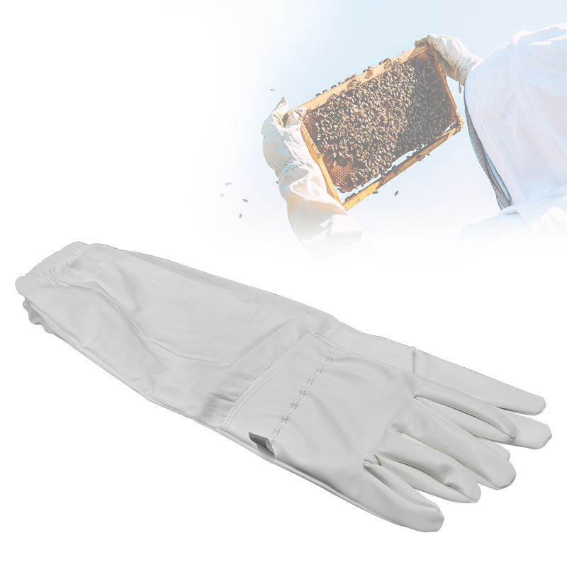 Beekeeping Gloves Protective Sleeves Professional White Artificial Leather And Cloth For Apiculture Beekeeping Gloves