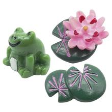 3Pcs Miniatuur Resin Lotus Blad Bloem Kikker Set Diy Micro Tuin Plant Bloem Pot Bonsai Poppenhuis Desktop Decoraties(China)