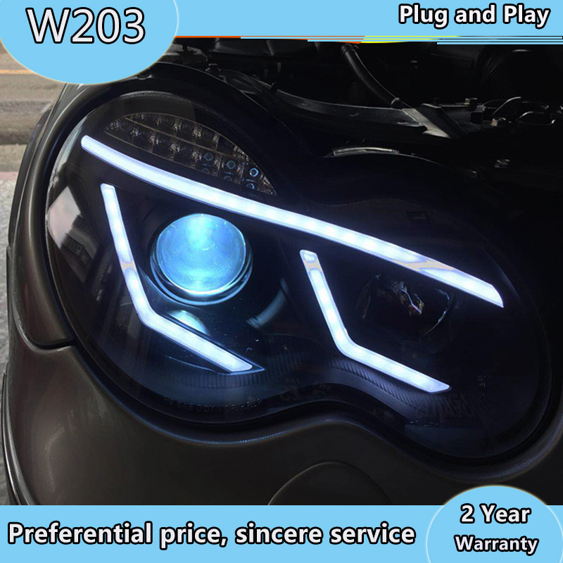 For Mercedes-Benz 2000 -2007 Year W203 C63 C200 C230 C280 C300 LED Angel Eyes LED Head Lights Front Lamp With DRL Daytime