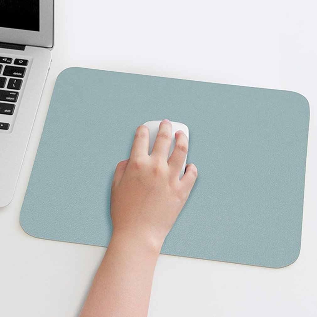 無地シンプルな革デスクパッド小マウスパッド Pu レザー防水パッドかわいいマウスパッド革マット片面