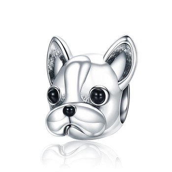 BAMOER 925 Sterling Silver Loyal Partners French BULLDOG Doggy Animal Beads fit Women Charm Bracelets Dog DIY Jewelry SCC315