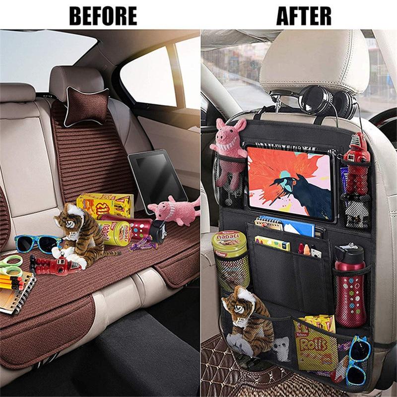 Car Organizer Backseat Storage Bag Multi-pocket Car Organizer Tablet Stand Cup Holder Storage Hanging Bag Auto Seat Organizer