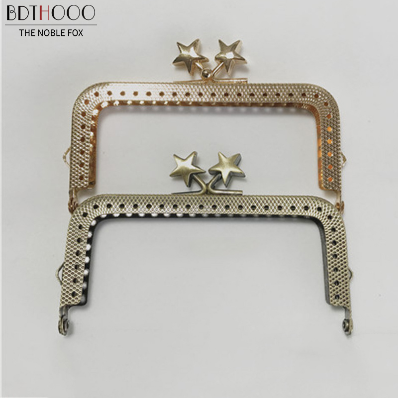 8.5cm 10.5cm Square Coin Purse Frame Metal Kiss Clasp Lock For Bag Accessories Copper/ Light Gold DIY Purse Frame