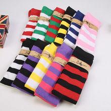 1 пара, новые женские длинные полосатые носки выше колена с рисунком, носки в полоску, 11 цветов, милые, теплые