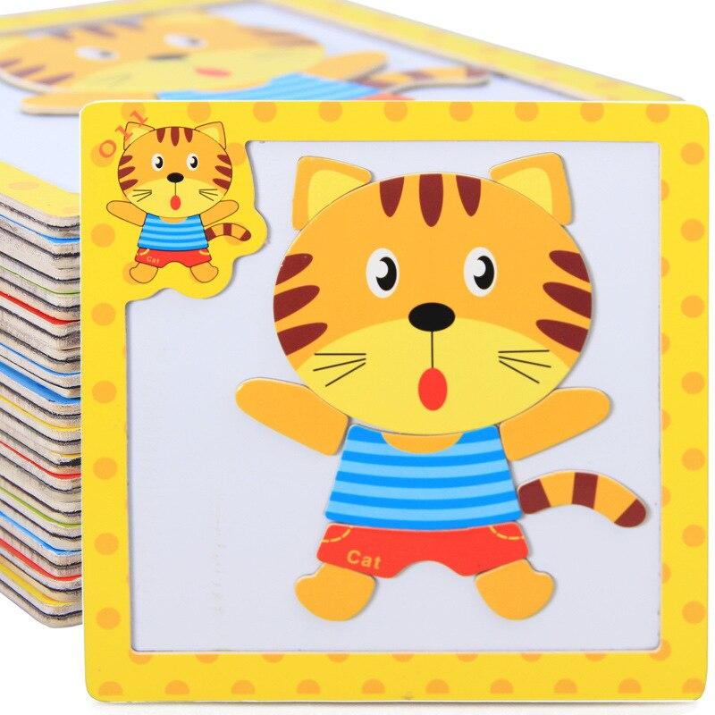 मुफ़्त शिपिंग बच्चों के लकड़ी के 3 डी पशु चुंबकत्व पहेली 4 PCS सेट, बच्चों शैक्षिक चुंबकत्व मेंढक / बाघ / कछुए