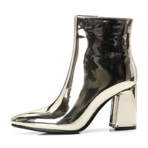 Image 4 - 2020 חדש רסיס זהב נשים קרסול מגפיים עבים הבוהן מחודדת גבוהה עקב מגפי מראה מתכתי נשים משאבות נשי סקסי פגיון מגפיים