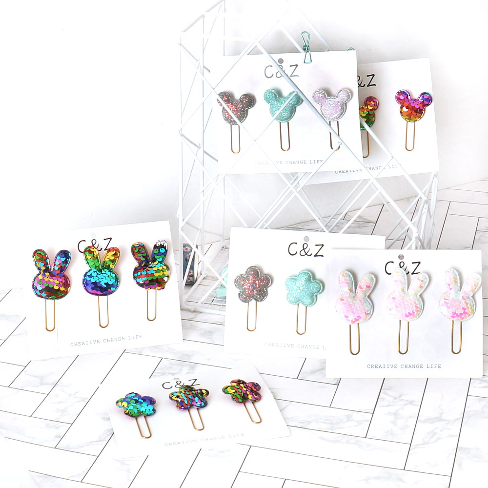 TUTU Cute Kawaii Handmade Metal Office School Index Paper Clips Bookmark Student Memo Clips Stationery H0406