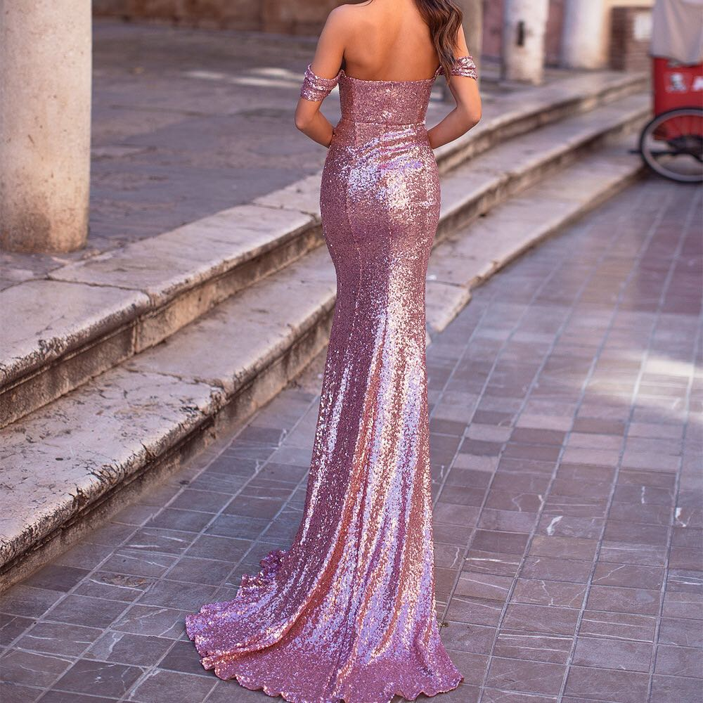 2020New Long   Mermaid African Prom Dresses Off the Shoulder Evening Dress Plus Size Long Sequined Sexy Prom Party Gowns