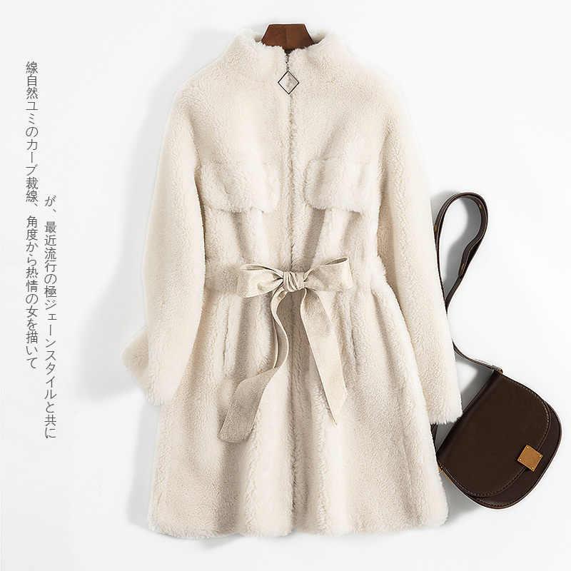 Outono inverno casaco de roupas femininas 2020 coreano casaco de pele real feminino 100% lã jaqueta ovelhas shearling topos abrigo mujer zt4534
