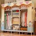 Простой шкаф простой современный экономичный шкаф из ткани стальная труба Усиленная стальная рама двойной шкаф для хранения ткани