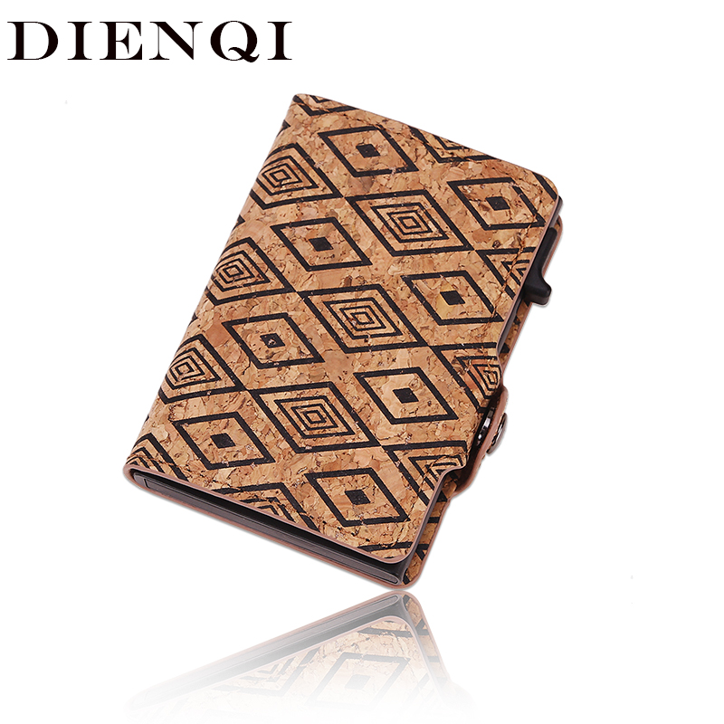 DIENQI 2020 New Rfid Card Holder Men Wallet Pocket Money Bag Brown Vintage Slim Thin Mini Smart Wallet Male Purse Carteira Walet