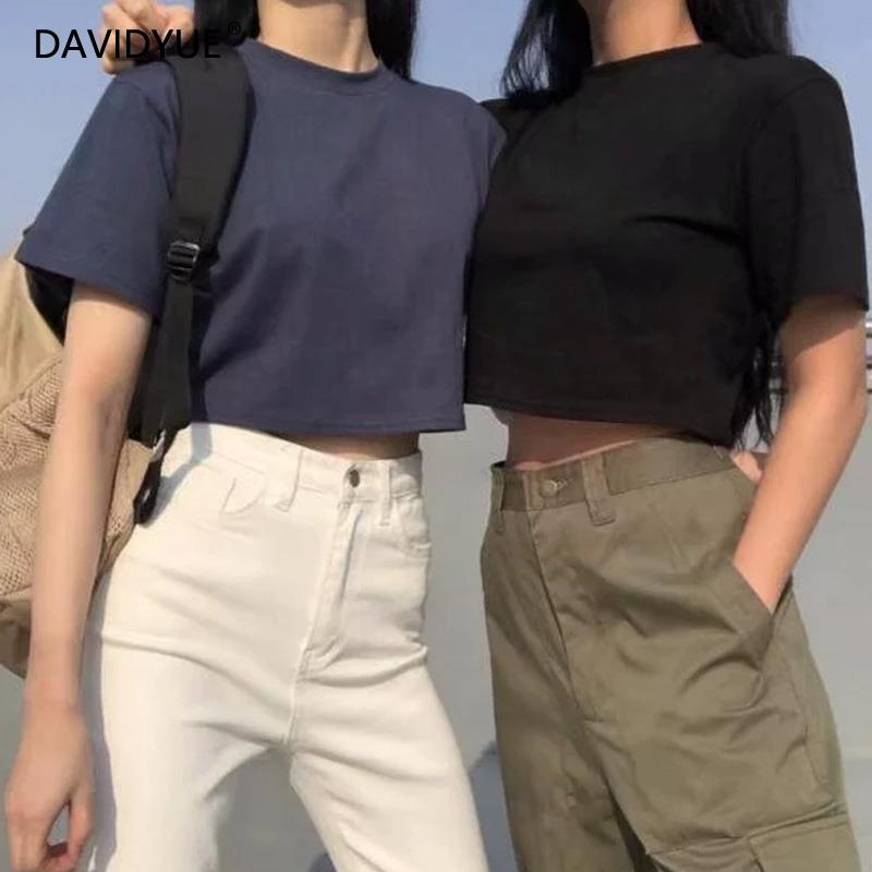 Black crop top women korean shirt vintage kawaii clothes solid tshirts cotton women 2019 summer short sexy tops