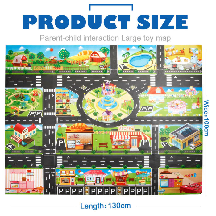 H7f3df83c70cf425ca2e428fee50d7ca6o Hot Selling 130*100cm Children Play Mats House Traffic Road Signs Car Model Parking City Scene Map