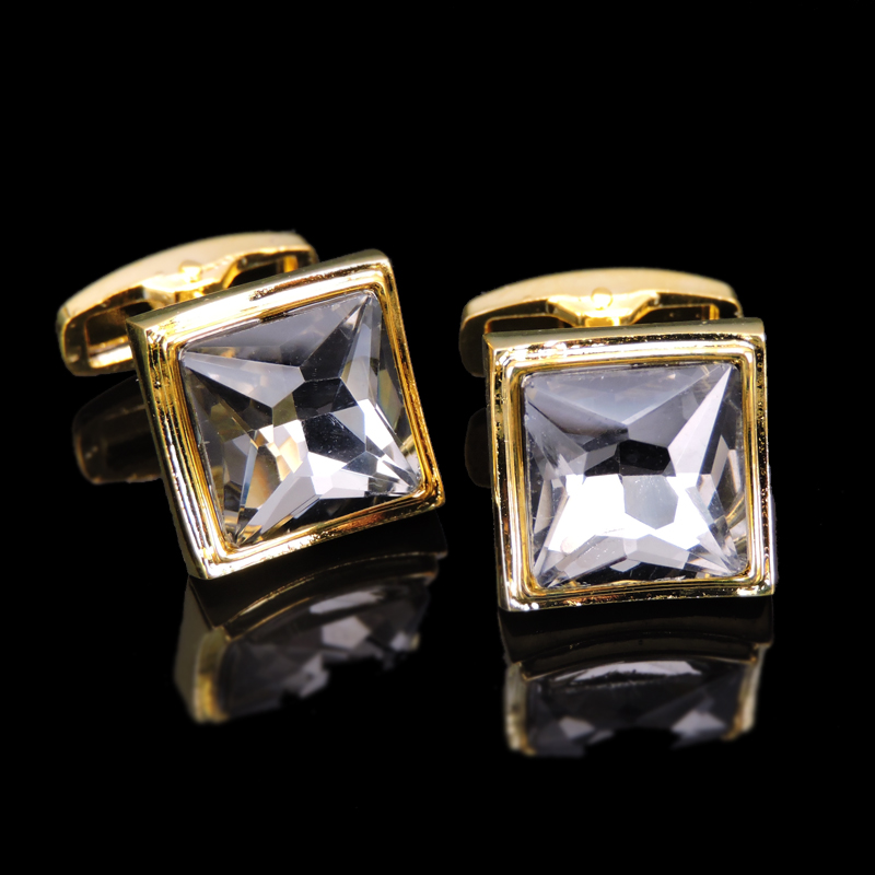 High Quality Square White Crystal Cufflinks Luxury Fashion For Mens Brand Stone Gold Cuff Buttons Cuff Links Jewelr CN008