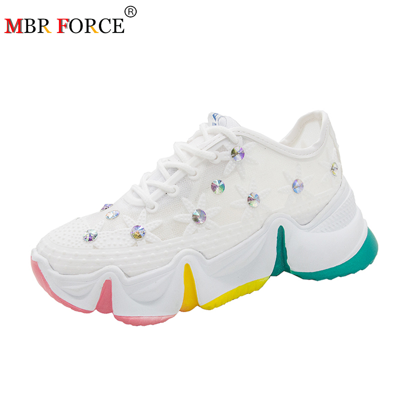 MBR FORCE New Chunky Shoes Woman Crystal Sneakers Women Platform Casual Shoes Multicolor Sole For Women Breathable Walking Shoes