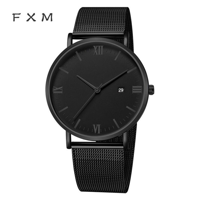 FXM Luxury Quartz Ultrathin Leisure Stainless Steel Dial Steel  Band Wrist Watch Men Watches Relogio Masculino Cool Montre Homme