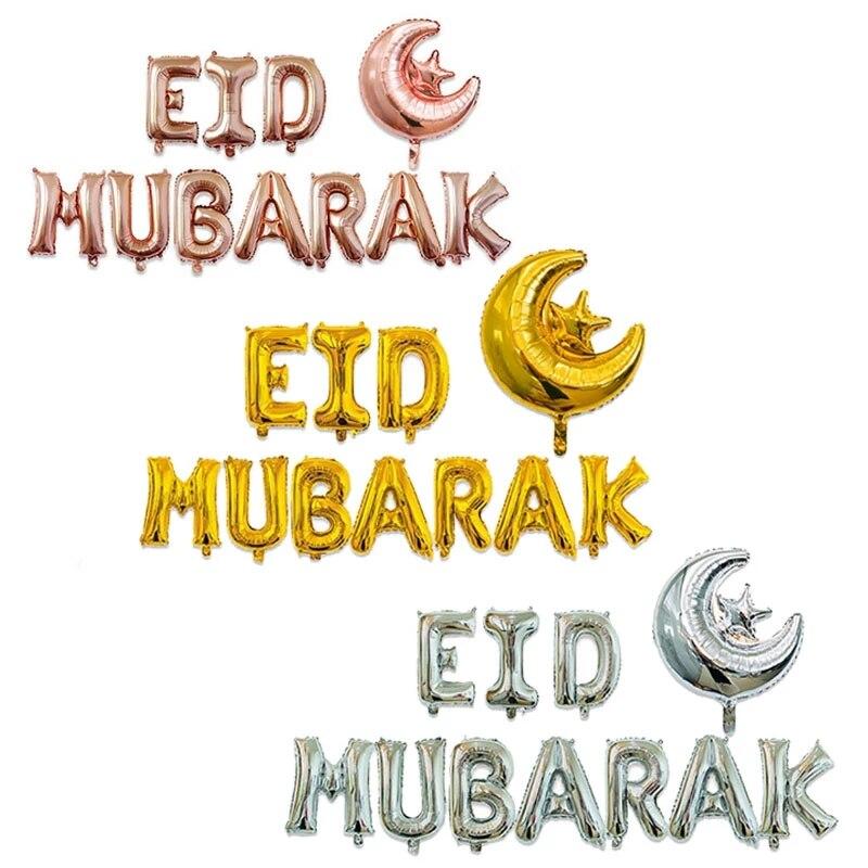 11 pièces EID moubarak ballons Ramadan Kareem décoration Rose or lettre étoile lune Eid ballon pour musulman islamique Eid partie Supplie