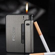 Металлические портсигары чехол для автоматического сигарета 10 шт. держатель для сигарет можно установить зажигалку модный гаджет для мужч...