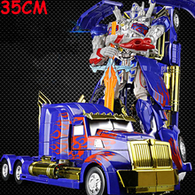 New Arrival 35CM Transformation Car Robot Series Toy Anime Optimus Prime Wasp Warrior Alloy Robot Car Boy Toys For Children Gift alloy robot transformation car toys alloy deformation p olice robot bus toy for kids children birthday christmas gift