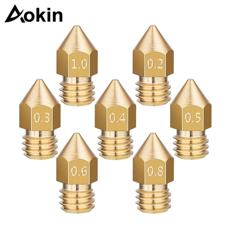 MK7/MK8 Nozzle For 3d Printer 0.4/0.3/0.2/0.5/0.6/0.8 Mm Copper Parts Extruder Threaded 1.75mm 3.0mm Filament Head Brass Nozzles