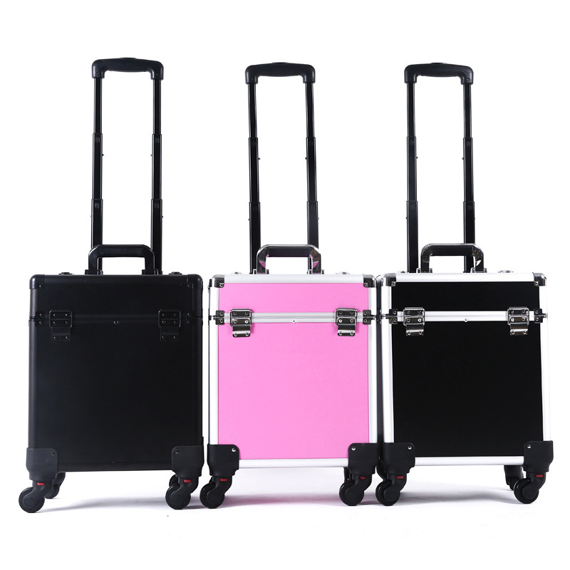 Chariot professionnel Cosmétique valise portable Organisateur De Maquillage Avec Roues À Bagages De Grande Capacité Boîte Nail Art Conteneur