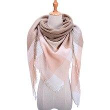 Новинка, женский зимний треугольный шарф, клетчатый теплый кашемировый шарф, женские шали, Пашмина, Дамская бандана, накидка, бандана