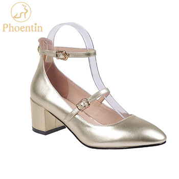 Phoentin gold mary janes ladies mid heels fashion shoes 2020 women shoes narrow band strappy genuine leather female pumps FT825