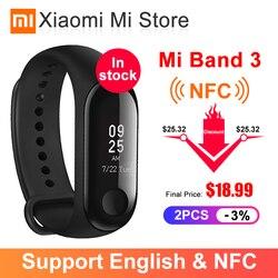 В наличии смарт-браслет Xiaomi Mi Band 3 NFC с большим сенсорным oled-экраном, фитнес-сообщение, сердечко, водонепроницаемость, версия CN Smartband