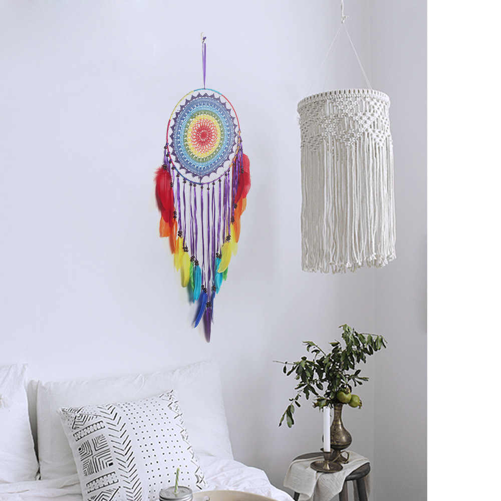 Ловец снов, Первоначально созданный Средний крючок цветок большой поплавок мечта сеть красочные индийский Северный ветер украшения стены