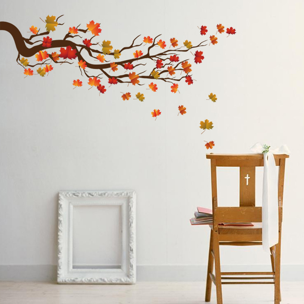 Maple Leaf Branches Wall Sticker Bedroom Living Room Sofa Background Decorations Home Wallpaper Mural Individuality Stickers