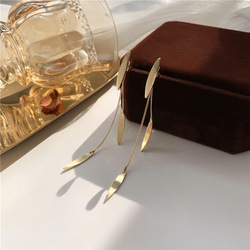 European Fashion boucle d'oreille Leaf Gold metal Long Tassel Pendant Earrings For Women Lady Jewelry Brincos