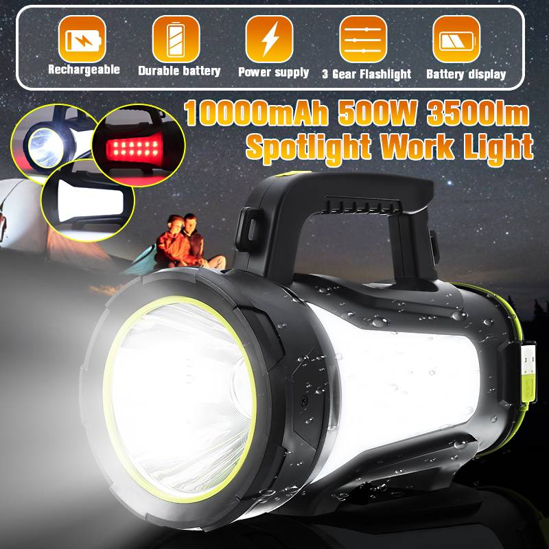 200/300/500W USB Charging LED Work Light Torch Spotlight Hand Lamp Camping Lantern Searchlight For Hiking Hunting