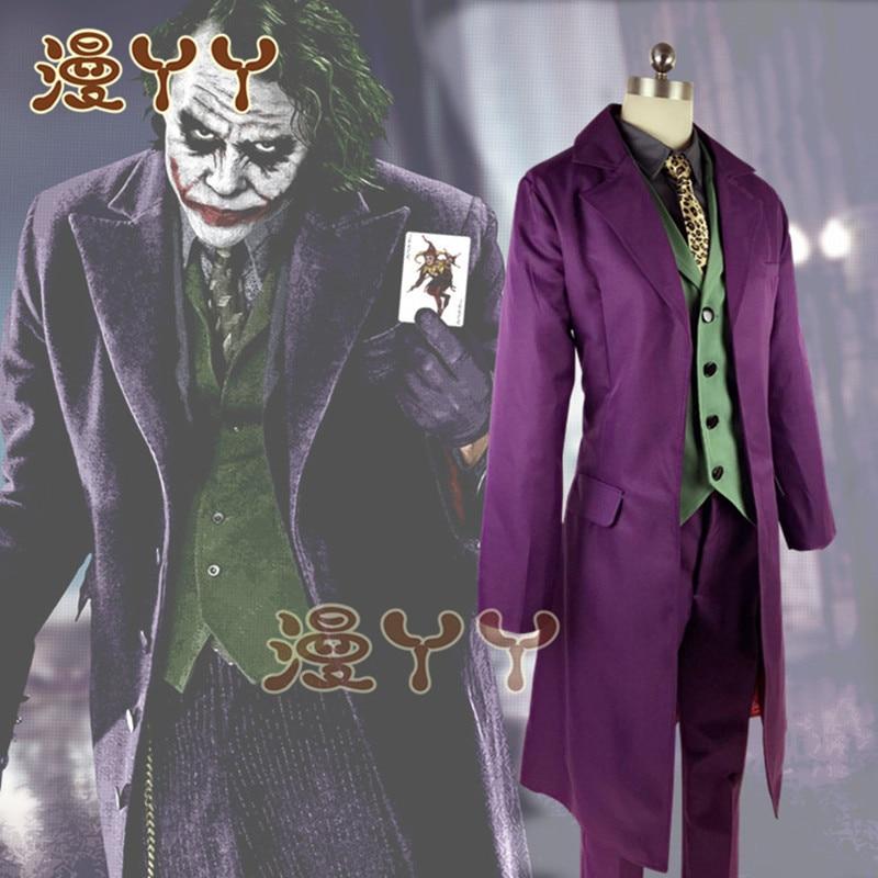 Heath Ledger Cosplay Suit  Halloween Mens Movie The Dark Knight Joker Costume Purple Jacket Full Sets