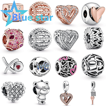 Blue Star 100% Sterling Silver pandoras New charm 2020 Valentine's Day Theo Bear Freehand Heart Free