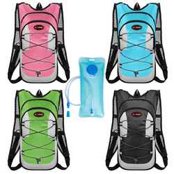 Outdoor Women Men Water Bag Hydration Backpack Camping Hiking Riding Running Bag 2L Water Bladder Container Reflective Pack