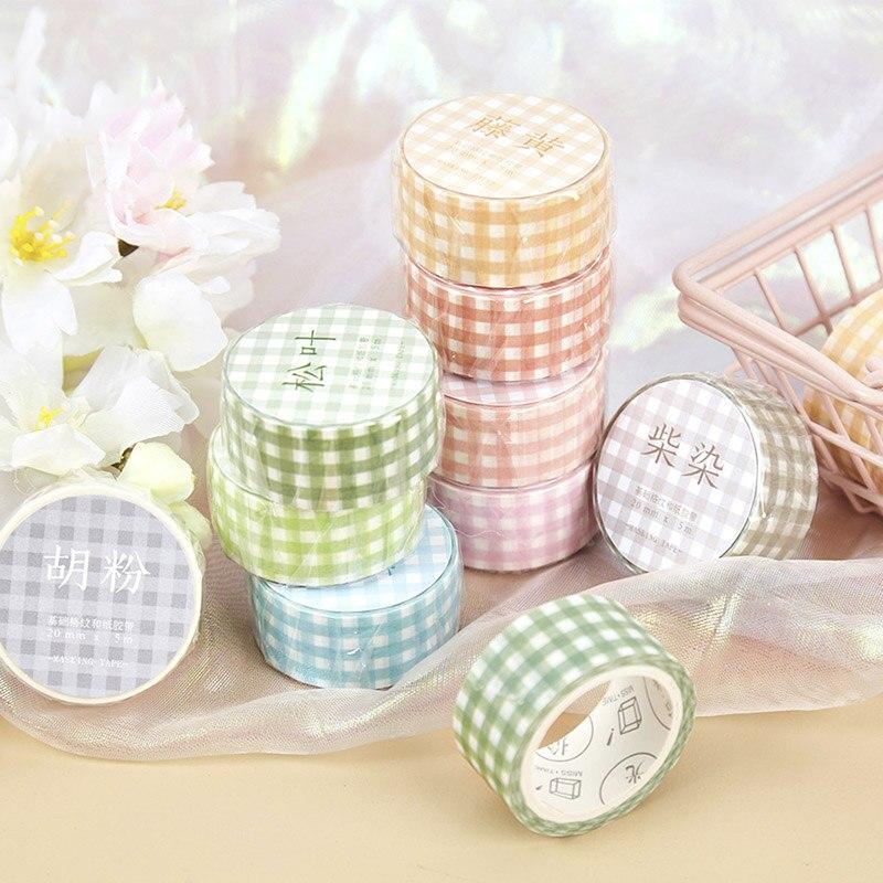 1pc Cute Plaid Washi Tape Kawaii Adhesive Tape Decor Masking Tapes For Kids Scrapbooking DIY Photos Albums Supplies Stationery