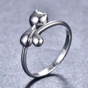 Image 2 - Bague Ringen 100% אמיתי 925 כסף סטרלינג טבעת בעלי החיים חתול צורת כסף טבעת חמוד יפה ליידי תכשיטי להיכרויות
