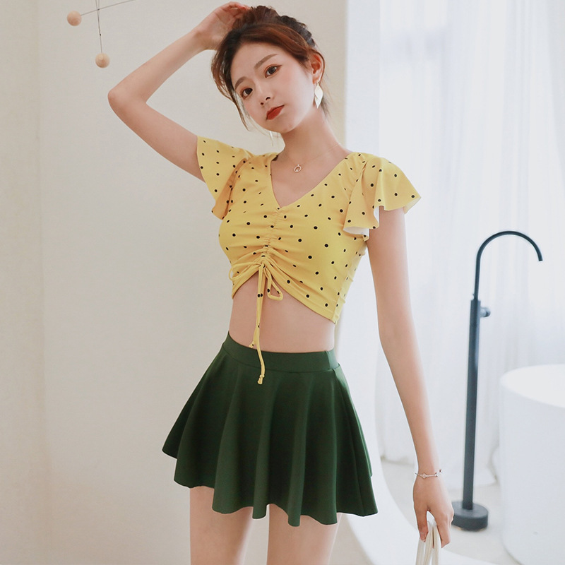 Swimsuit Woman 2019 Two Piece Korean Swimwear Tankini Women Pieces Large Size New Split Swimsuits With Skirt Style Cute Push Up