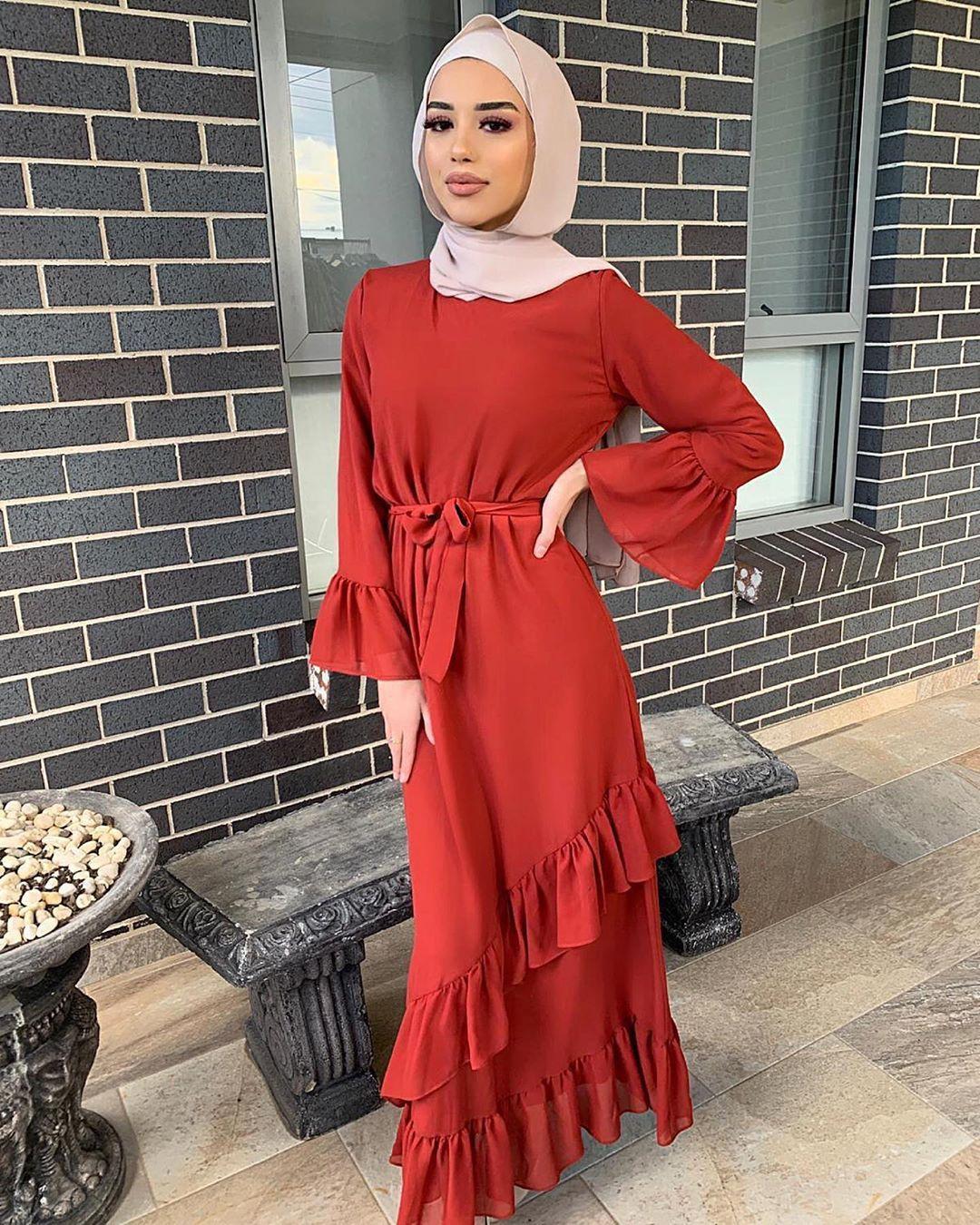 Пот мусульманское Каскадное платье с рюшами женское однотонное кружевное тонкое Макси-платье трапециевидной формы