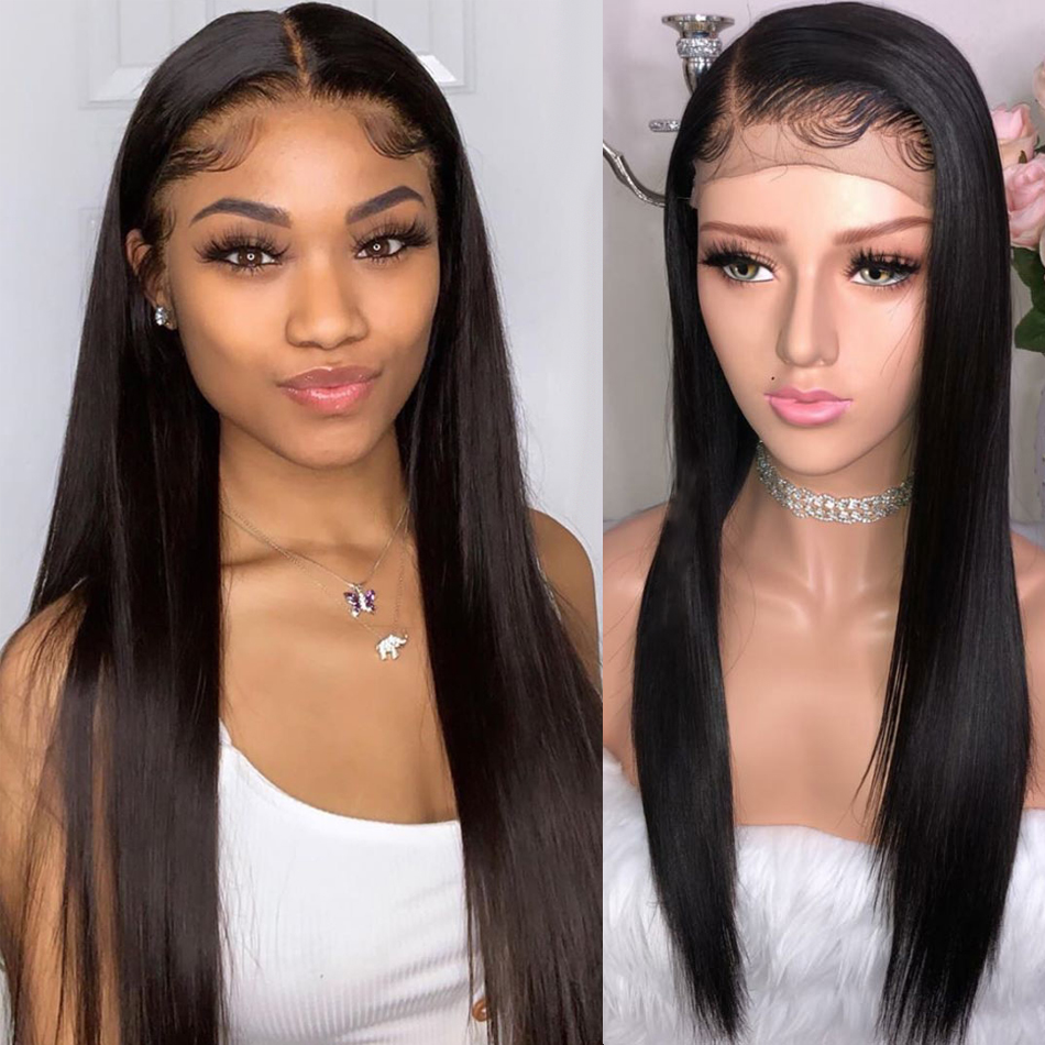 Straight Lace Front Human Hair Wigs Pre Plucked Hairline Hot Star Malaysian Straight Remy Hair 150% Density 13x4 Lace Front Wig