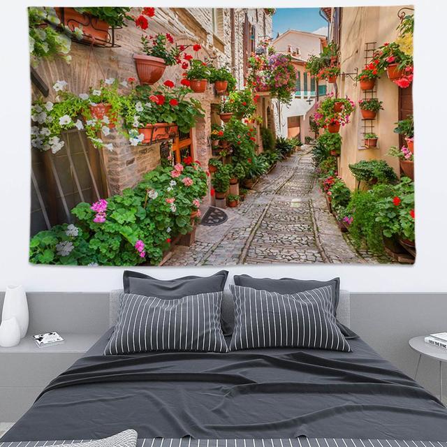 Tapisserie Hippie de ville nordique 3D | Fleurs, tapisserie murale, Architecture antique Boho, Promenade, tapisserie murale suspendue, Art mural