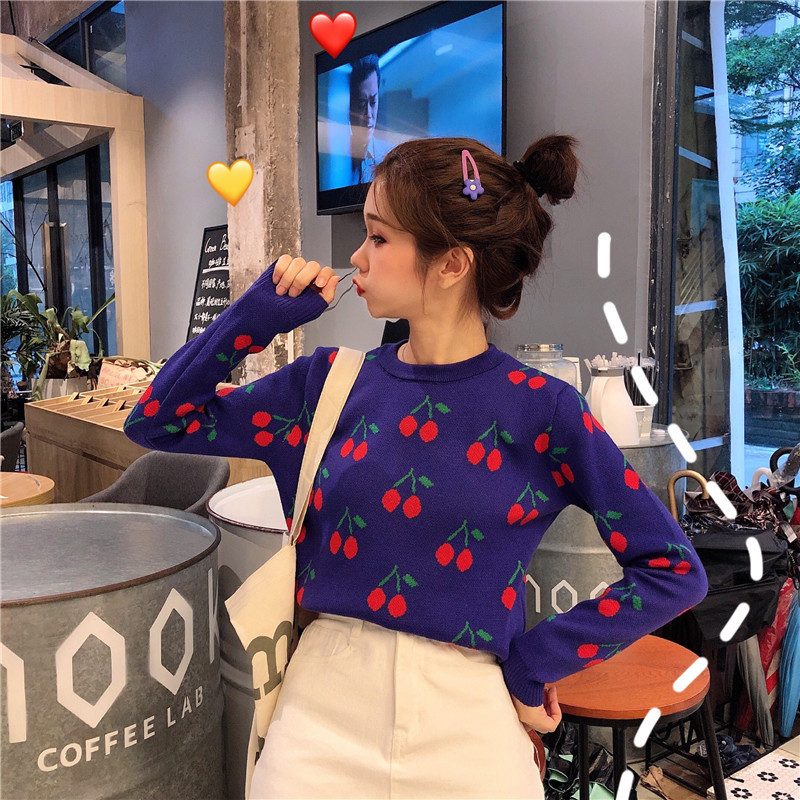 Knit Sweater Female Korean Sweet Cute Cherry Embroidery Long-sleeved Round Neck Sweater Loose Hooded Warm Sweater