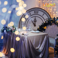 Champagne/Gold Embroidered Sequin Tablecloth 90x156in 225x390cm Sequin Table Cloth for Wedding Birthday Party Buffet Decoration