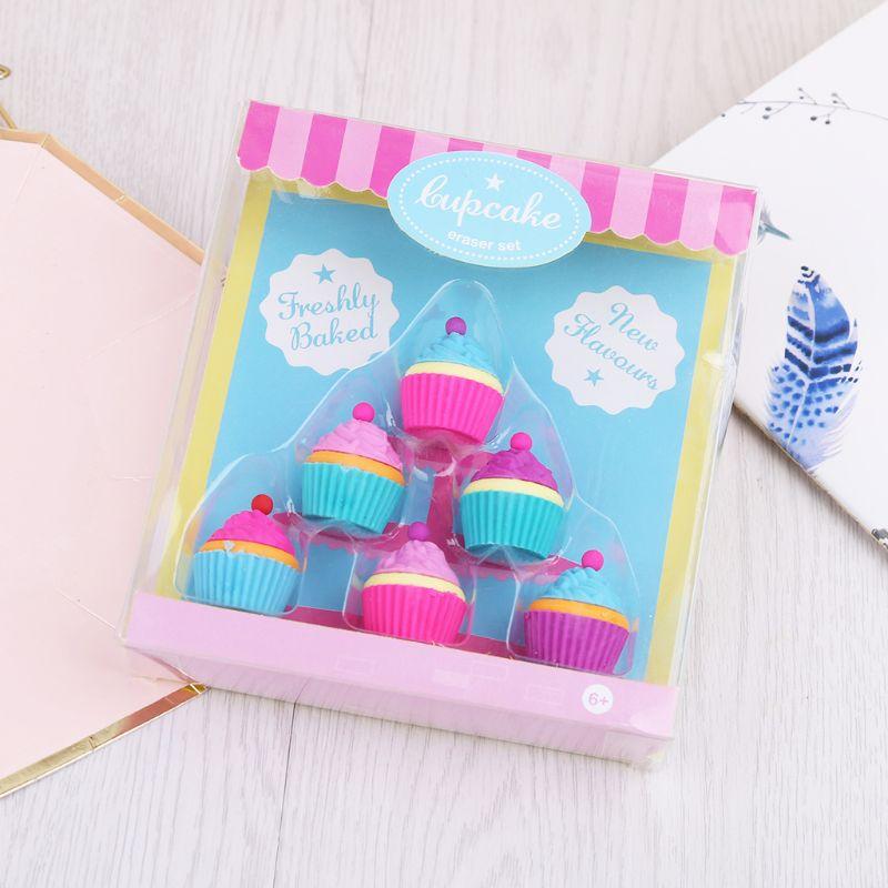 6pcs/set Kawaii Rubber Cake Dessert Cup Eraser Set For Kids Novelty Stationery LX9A