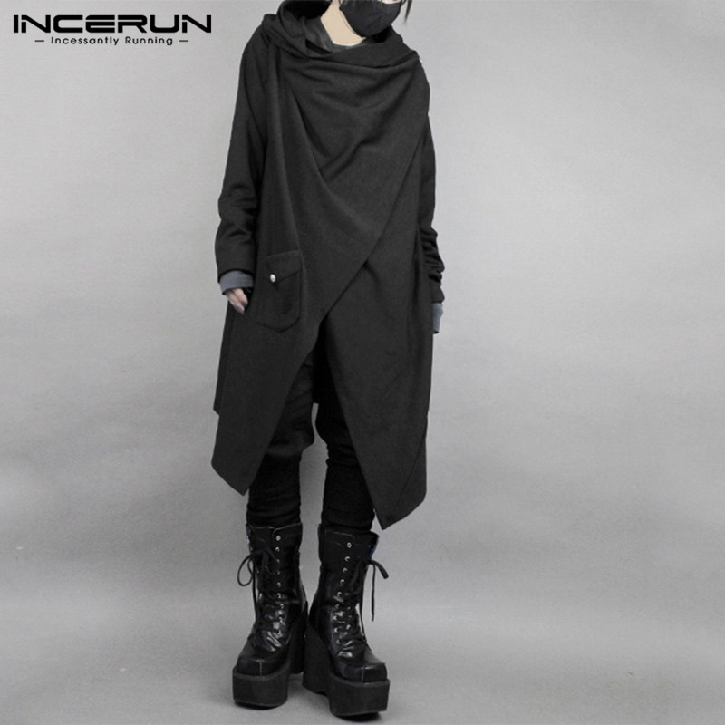 INCERUN Fashion Men Cloak Cape Punk Style Solid Irregular Outwear Cotton Long Sleeve Streetwear Japanese Style Men Trench Coats