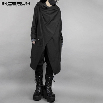 INCERUN Fashion Men Cloak Cape Punk Style Solid Irregular Outwear Cotton Long Sleeve Streetwear Japanese Style Men Trench Coats