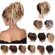 Kong&Li Synthetic Messy Bun Curly Scrunchy Hair bands Bun Chignon Elastic Messy Scrunchie Wrap For Ponytail Extensions For Women