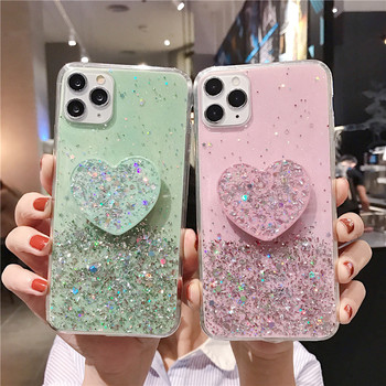 3D Pink Lovely heart Holder stand Glitter silicone soft phone case for iphone 11 Pro Max X XR XS 6s 7 8 plus Socket back cover