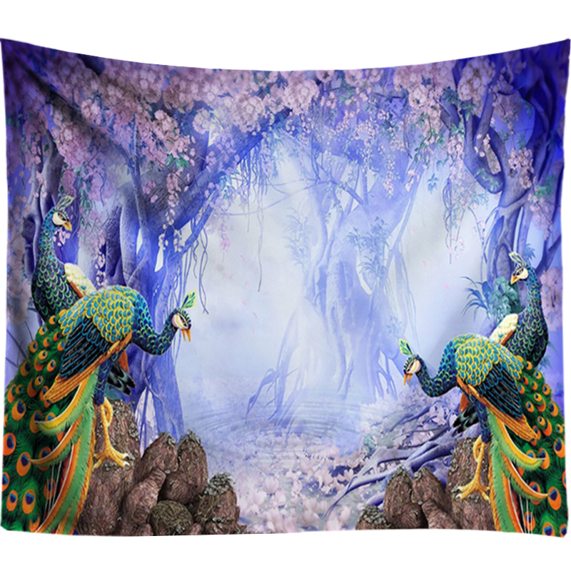 Peacock Tapestry Flowers Wall Hanging Boho Psychedelic Tapestry Mandala Wall Tapestries Hippie Wedding Decor Picnic Throw Rug in Tapestry from Home Garden