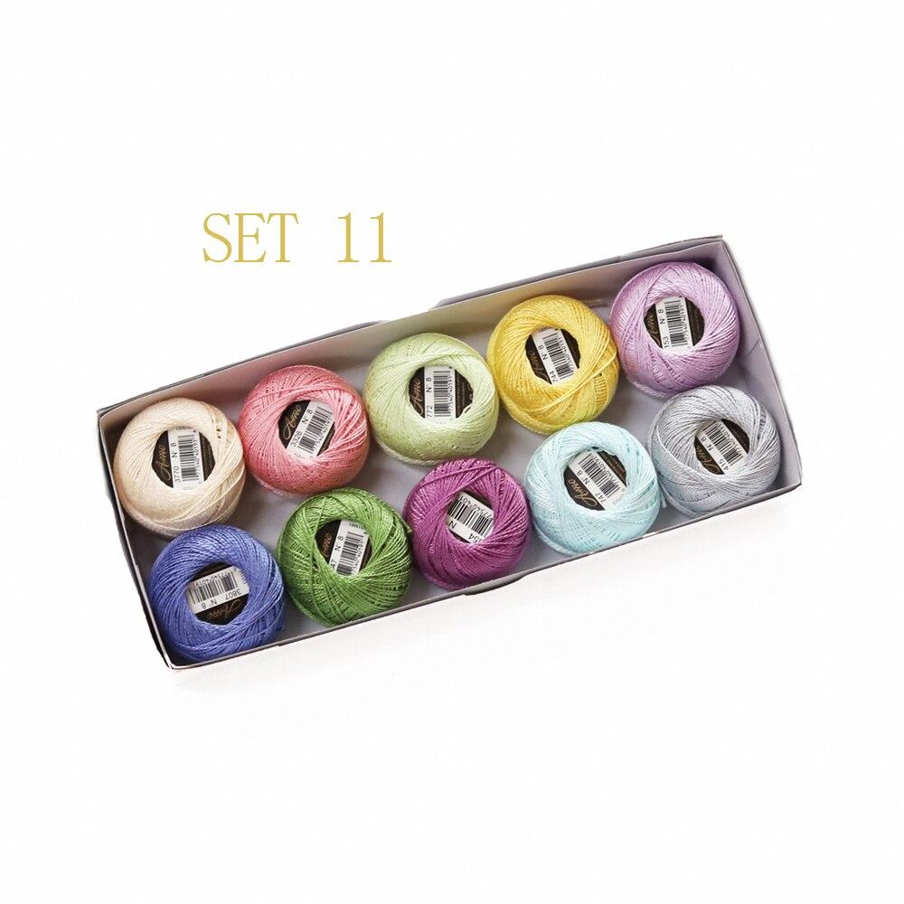 Размер 8 жемчужный хлопок крючком нить 43 ярдов Двойной Мерсеризованный длинноштапельный Египетский хлопок 79 DMC цвета доступны 10 коробка с шариками - Цвет: SET 11